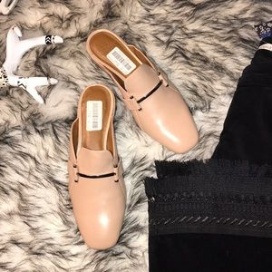 NWT Halston Nude Leather Mules